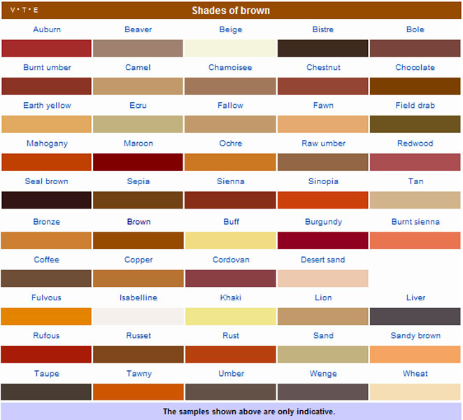 brown color names 28 images names of colors in shades